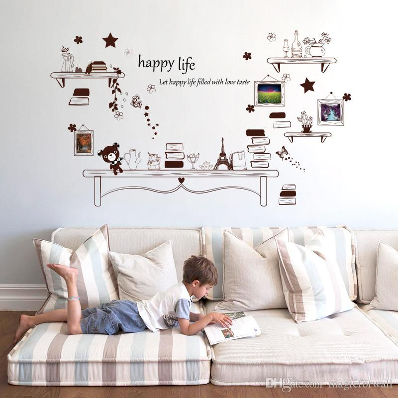Fake Shelves Star Bear Eiffel Tower Butterfly Photo Frame Wall Stickers Living Room Bedroom Vintage Wall Decor Decal DIY Home Decoration Art