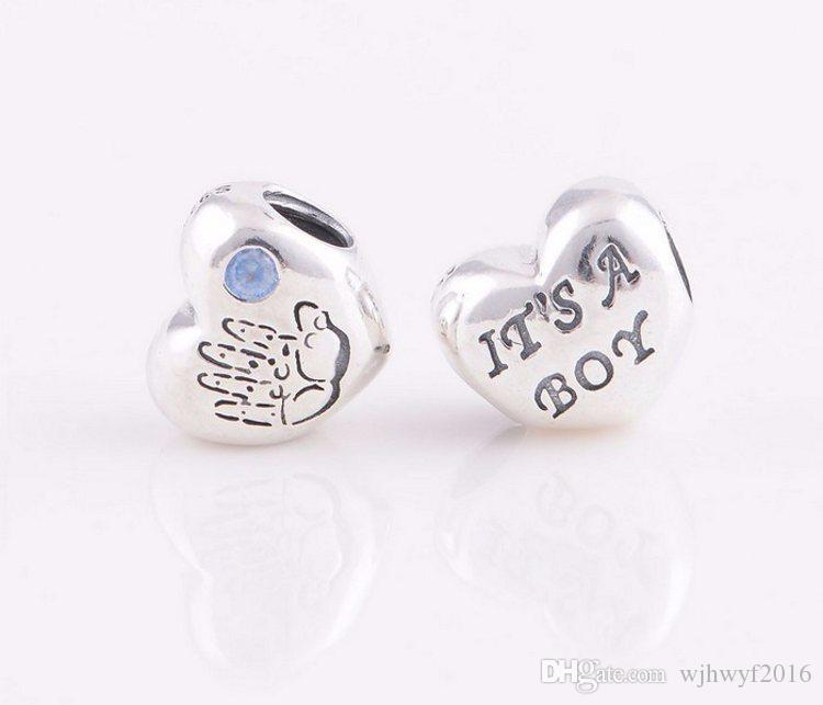 2017 New Authentic 925 Sterling Silver Baby Boy Heart Charms With Blue Crystal DIY Craft Jewelry Fits Famous Brand Charm Bracelet HB529