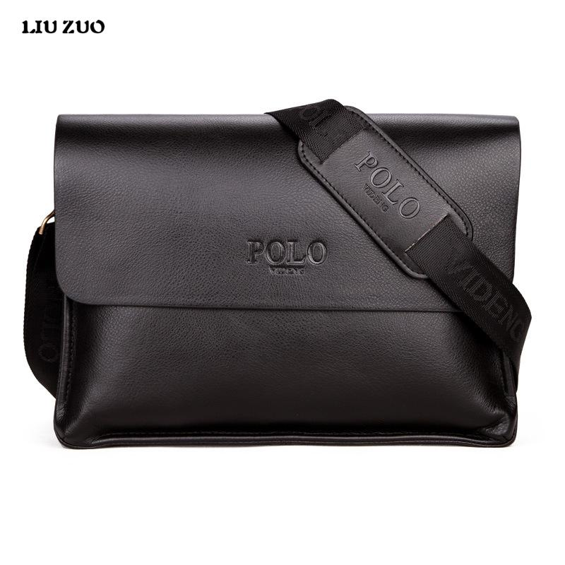 Wholesale- In 2017 POLO Famous Brand Classic Design Leather Mens Messenger  Bags Promotional Casual Business Man Bags Shoulder Bag Briefcase Bag  Waterproof ... 930a7f99f6