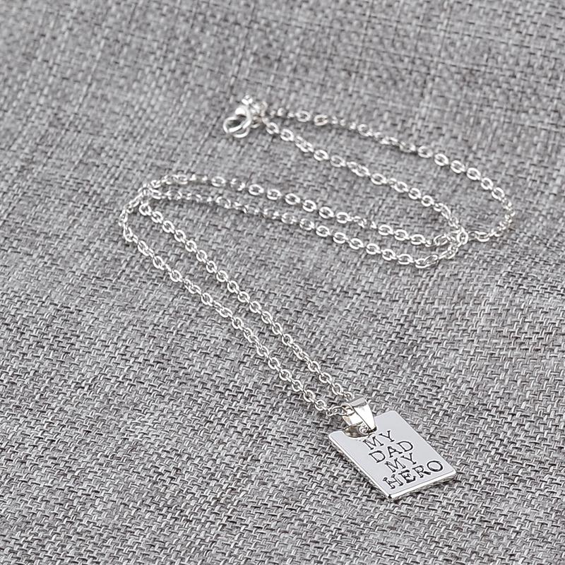 Father Day letters My Dad My Hero Fashion Charm Pendant Necklace Jewelry Alloy Wholesale Love Men Cool Best Gift Party ZJ-0903795