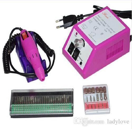 Máquina de manicura de taladro eléctrico mayorista profesional rosa con brocas 110v-240V enchufe de la UE Fácil de usar Envío gratuito