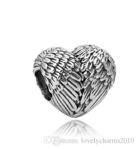 Großhandel 50 stücke herzförmige federflügel 925 silber silber charm perlen europäische charms perlen fit pandora armbänder diy schmuck weihnachten weihnachten