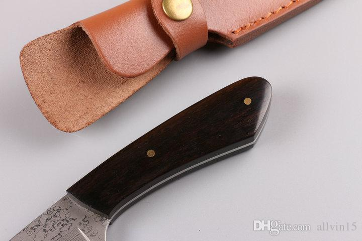 2016 New Pure Hand made Damascus Fixed blade knife 59HRC Natural Ebony handle Outdoor survival straight knives with leather sheath