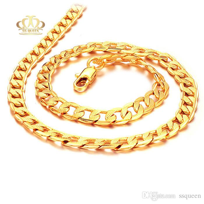 2018 18k Real Gold Plated 60cm Long Necklace Men Jewelry New Trendy