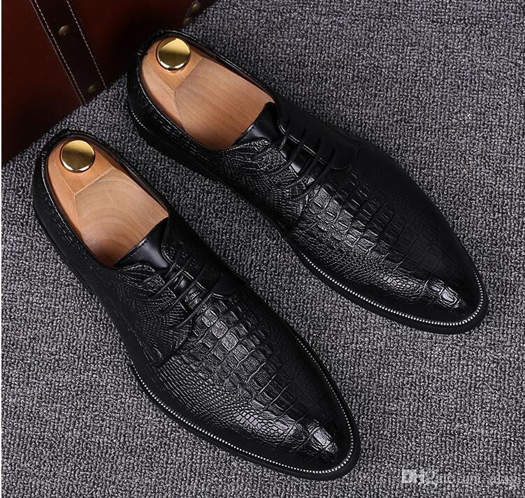 높은 품질의 악어 곡물 가죽 남자 플랫 신발 브로 지, 레이스 업 불 락 사업 남자 Oxfords 신발 남자 드레스 신발 NXX460