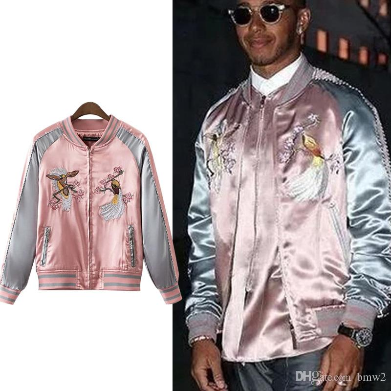 Embroidery Printed Women Souvenir Jacket Famous Brand Pink Embroidered Bomber Jacket Men Streetwear Kate Moss Jackets