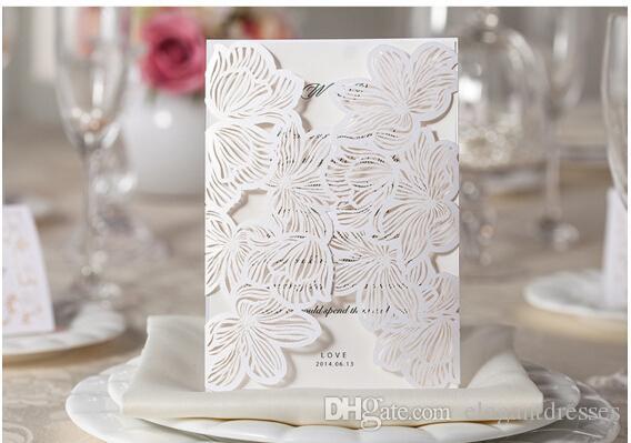 Mais novo convite para impressão Cartões da festa de casamento branco do casamento convite personalizado oco Cartões Cartão com envelope selado