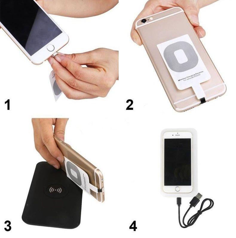 Adaptateur de charge récepteur récepteur sans fil Qi chargeur récepteur Pad Coil Pour Samsung Galaxy S3 S4 S5 Note 2 3 4 Micro USB mobile