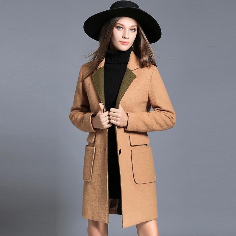 2017 Autumn Winter Women Wool Plus Size Long Woolen Coat Lady Elegant Jacket Camel Green Pockets Outwear Woman Clothing L-4XL