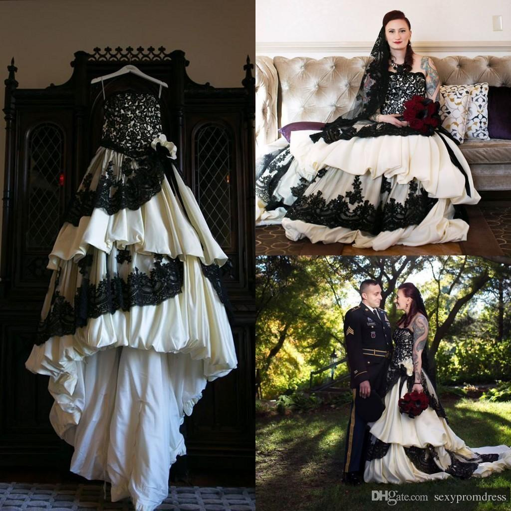 Discount Vintage Black And White Wedding Dresses Taffeta Ruffles Lace Applique 1950's Gowns With Flower Sash Tiered Sweep Train A Line: Vintage Black Wedding Dress At Websimilar.org