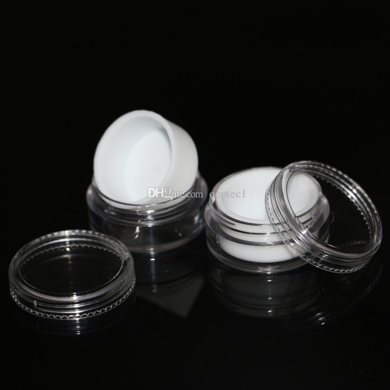 doublure blanche à l'intérieur des pots en plastique cire dab 5 ml, récipient en plastique transparent concentré en pots de butane en plastique avec doublure en silicone