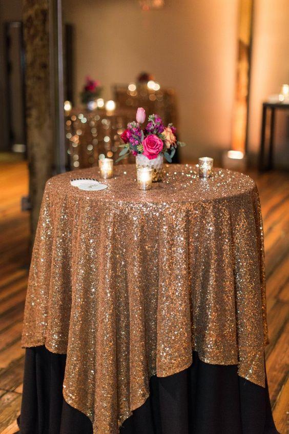 Große Gatsby Hochzeit Tischdecke benutzerdefinierte Größe rund und Rechteck hinzufügen Sparkle mit Pailletten Hochzeitstorte Tisch Idee Maskerade Geburtstagsfeier