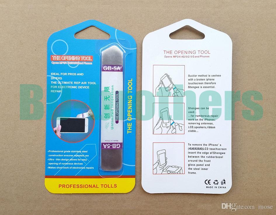 GB-5A Edelstahl Soft-Thin-Hebel-Öffnungswerkzeug Crowbar für Touch-Screen-Handy-Gehäuse-Reparatur mit Kleinpaket
