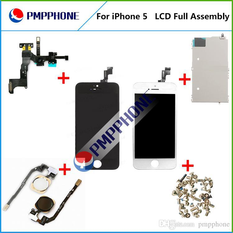 high quality for LCD Display Touch Digitizer+Complete Screen+home button+camera Full Assembly Replacement for iPhone 5 With