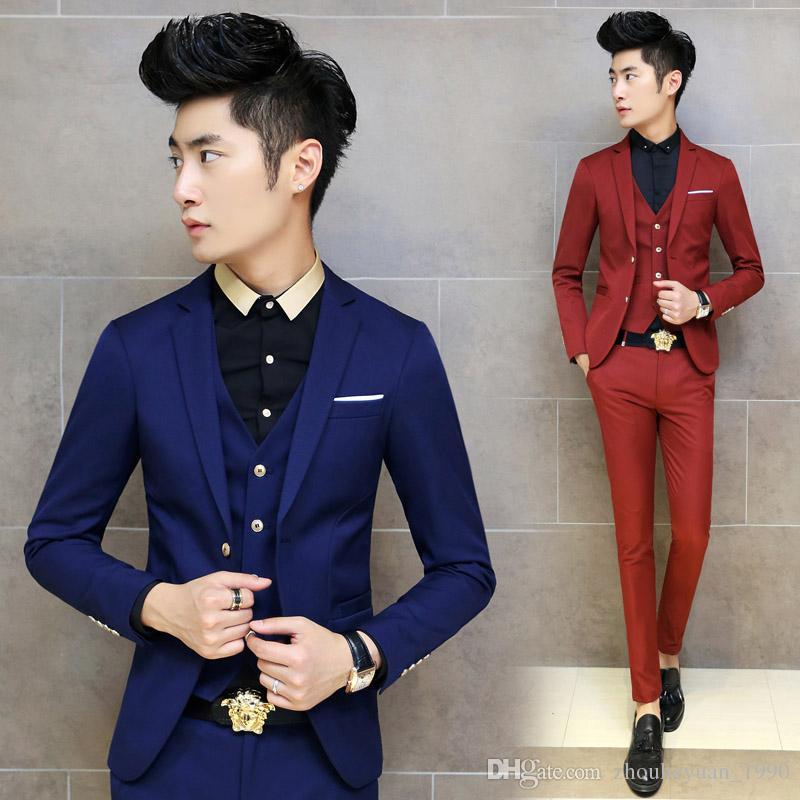 2018 Hot 2016 Korean Tuxedo Men Suit Slim Fit Mens Suits With ...