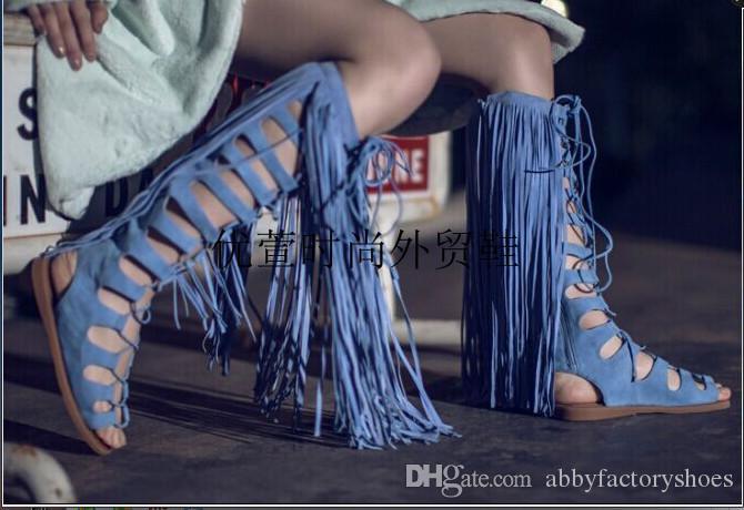 Designer langen Quasten Ausschnitte Frau Sommer schnüren sich oben Stiefel zurück Reißverschluss Gladiator Sandale Stiefel Franse Frauen blau Sandale Wohnungen Stiefel 35-42