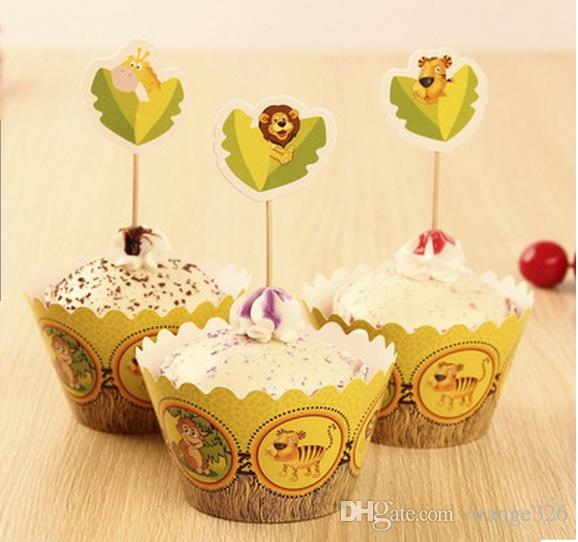 Forest Animals Paper Cupcake Wrappers Cup Cake Toppers for Kids ...