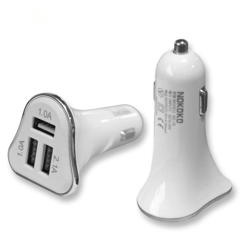 Caricatore da auto USB 3 porte Nuovo design Elegante corpo bianco Cornice colorata 2.1A Caricabatteria da auto ricarica veloce Samsung S8plus S8 HTC LG Free DHL