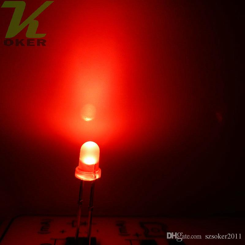3mm 3mm rosso diffuso LED Light Light Light Lampada Emissione diodo nebbioso Ultra Branzosi Plug-in Kit fai da te Pratica Pratica grandangolare