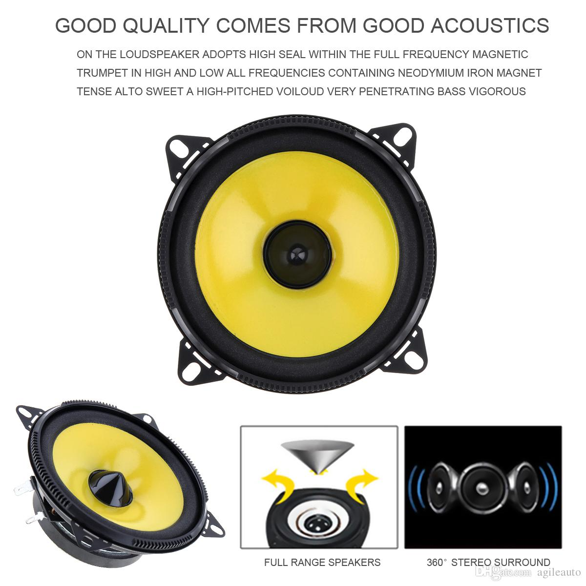 Yellow and Black Color 4 inch 80W 2-Way Full Range Frequency Car Audio Stereo Speaker Car Speaker CAU_402