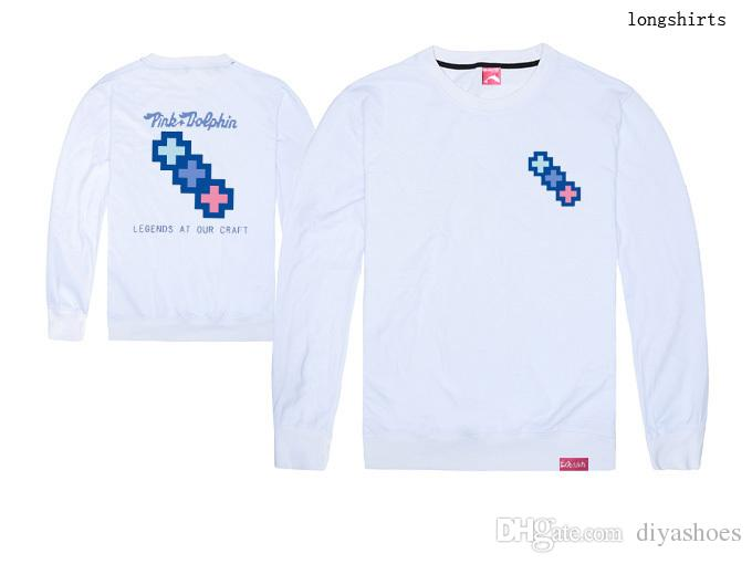Neues Großhandelsmänner und -frauen Langhülse T-Shirt der Ankunft 2018 plus Größe xxl hochwertiger Straßentanz rosafarbener Delphin 100% Baumwolle