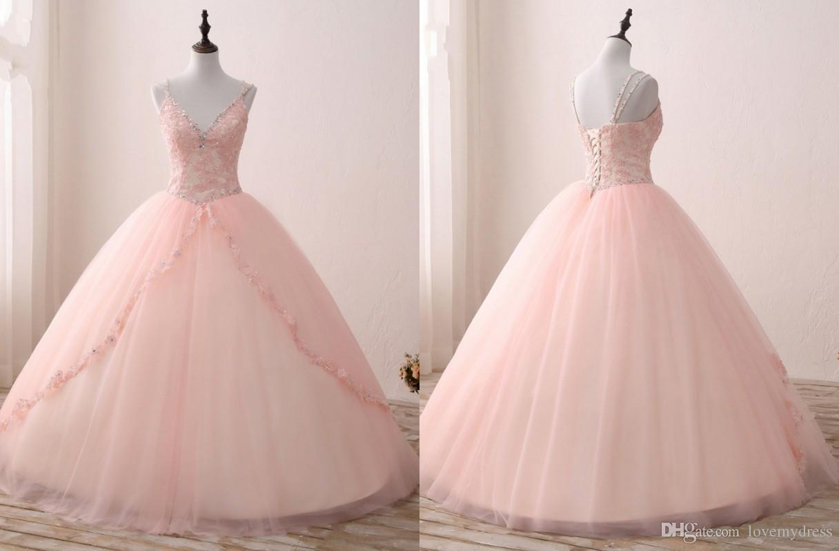 2018 V Neck Blush Applique Lace With Champagne Satin Quinceanera ...