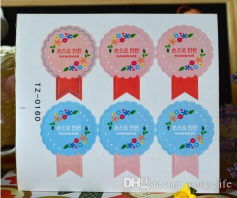 500sheets  koreanisches Design, das ewige Gefühl der Dankbarkeitsblume runde Siegelaufkleber dekorative DIY Geschenkaufkleber