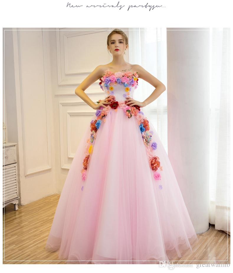Champagne/Pink Flowers Theme Studio Ball Gown Venice Medieval Dress ...