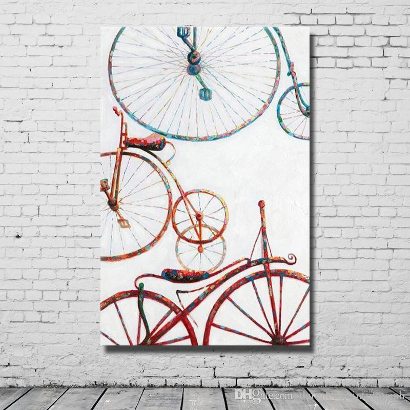 New Design Bicycle Art Painting Hand made Canvas Oil Painting Living Room Wall Decor Cheap Modern Wall Pictures No Framed