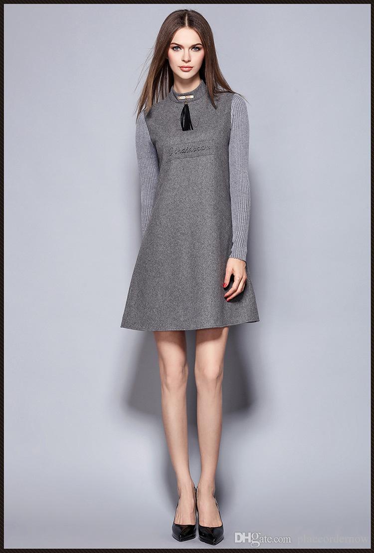 376a6fb867937 Satın Al Kadın Elbise Katı 2016 Yeni Sonbahar Kış Elbise Kalın Yün Örme  Patchwork Ofis Çalışması Artı Boyutu Kadın Elbiseler Bir, $35.18 |  DHgate.Com'da