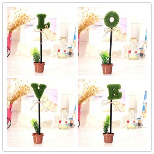 Bonito Caneta Esferográfica LOVE Verde Potted Plant Modelagem Caneta Um Total De Quatro Material De Escrita De Plástico Escritório Escola Caneta Papelaria Alta Qulity