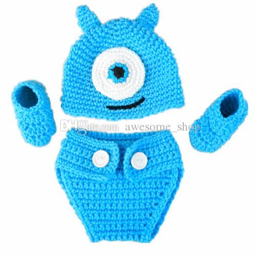 Crochet Baby Mike and Sully Monster Costume,Handmade Knit Baby Boy Girl Twins Animal Hat,Diaper Cover,Booties Set,Infant Newborn Photo Prop