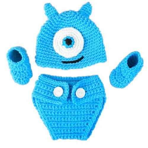 Crochet Baby Mike e Sully Monster Costume, Handmade Baby Knit Girl Twins Animal Hat, Copri pannolini, Booties Set, Neonato Foto Prop