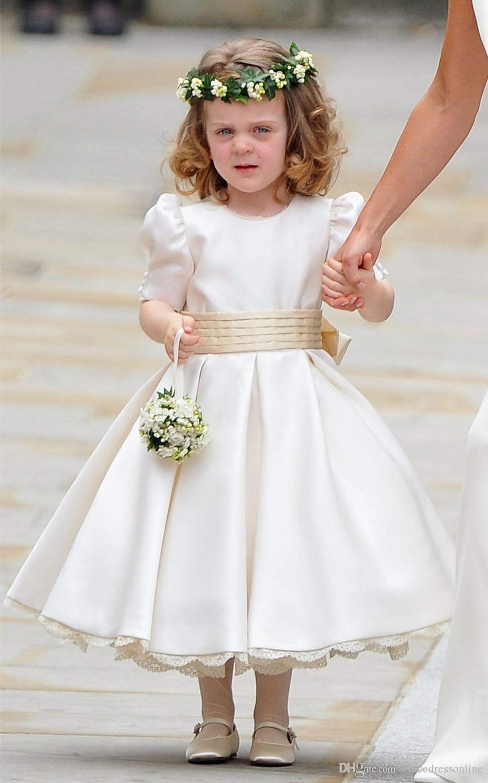 Elegant Kate Middleton Wedding Flower Girl Dresses Crew Satin ...