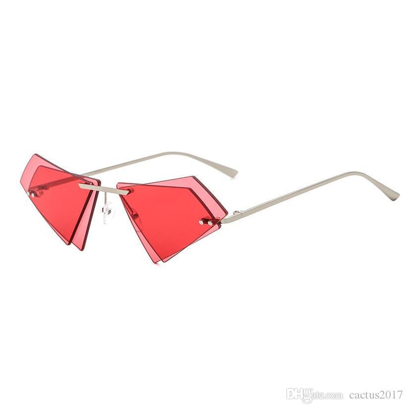 62104e632 Small Sunglasses Girl Unique Irregular Double Lens Frameless Trending Sunglasses  Women Men Brand Sun Glasses Black Pink Female Sunglasses Fastrack ...