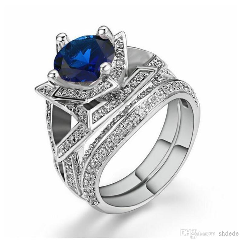 Europe and the United States luxury trend women's ring platinum plating round blue flowers micro zircon R699