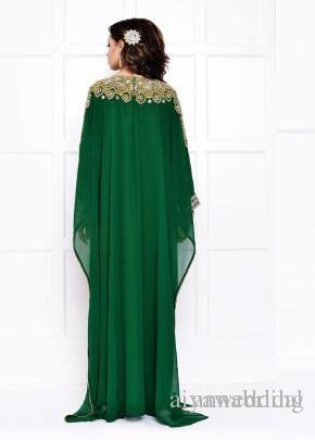 Abito da sera verde Dubai Chiffon maniche lunghe Cristalli dorati e argentati Perline Lunghe mussulmane arabe vintage Kaftans Abaya Vestidos.