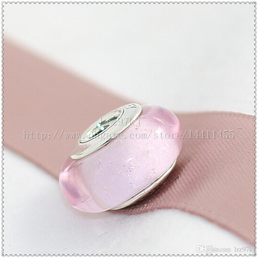 S925 스털링 실버 Auroras 서명 컬러 형광 무라노 유리 구슬 맞는 유럽 판도라 매력 팔찌 목걸이