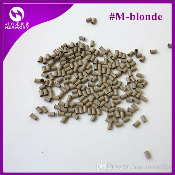 Blonde Color hair extension copper bell tubes flared end micro ring beads for I-tip hair /bag, 4.0mm x 3.6mm x 6mm