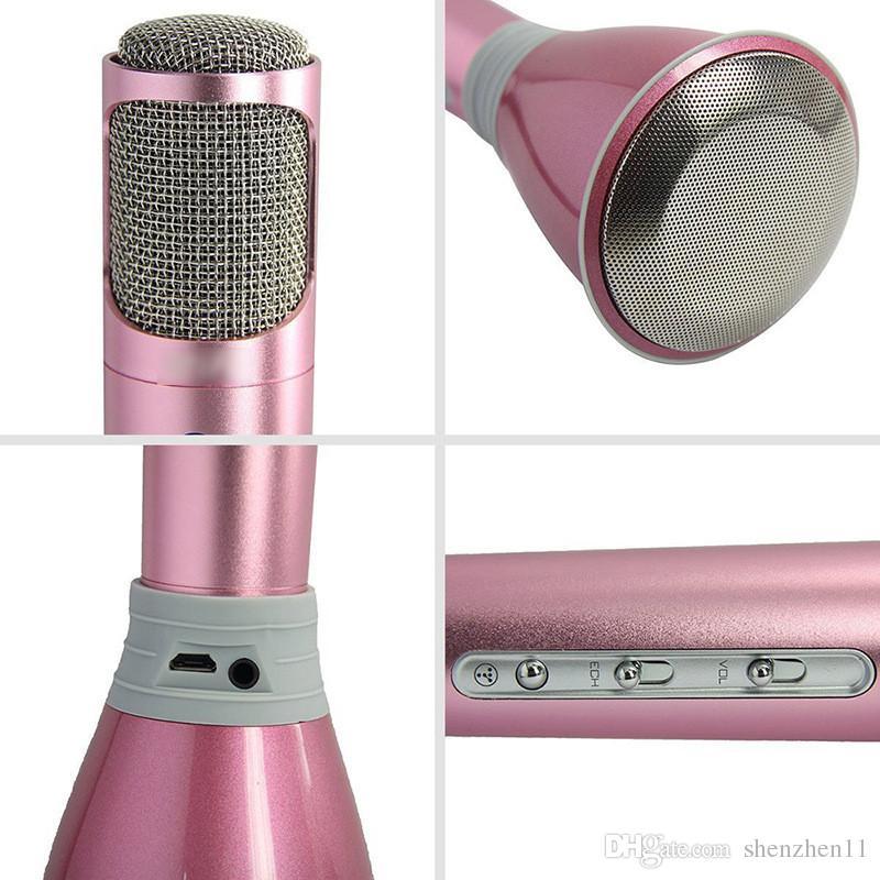 2016 K068 Bluetooth Wireless Microphone With Mic Speaker Condenser Mini Karaoke Player KTV Singing Record DHL OTH306