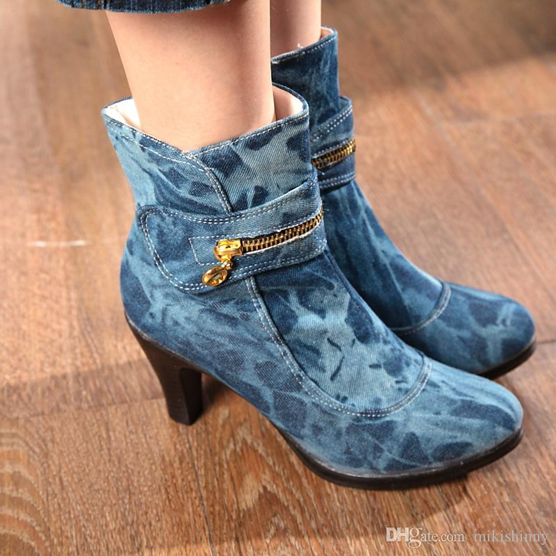 Spring Women Boots New Cowboy Ankle Boots Low Heel Shoes