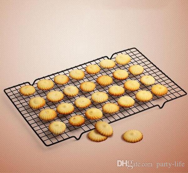 50 ensembles / noir rectangle rectangulaire maille antiadhésive de gâteau de grille de cuisson biscuits séchage biscuits pain muffins outils 25 * 40 cm