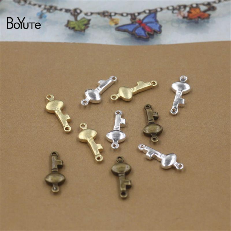 BoYuTe 16*6MM HOT Sale Metal Brass Key shape Bracelet Connector Charms DIY Jewelry Findings Components