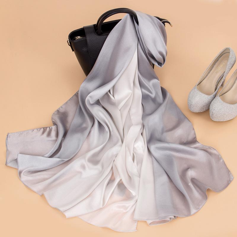 New Ink Hand-painted Scarf Gradient Color Beach Shawl For Women Scarves Wraps Fashion Silk Satin Scarf