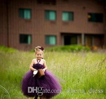 2019 Perfectly Plum Tutu Dresses Halter Ball Gown Grape Purple FLoor Length Tulle Princess Flower Girls Dress Backless Pageant Gowns