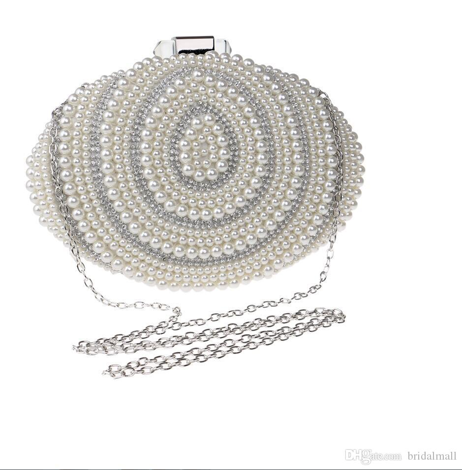 In Stock Bling Bling Silver Shell Beaded Pearls Clutches Double Handle Bridal Hand Bags Evening Party Prom Crystals Special Occasion Bags