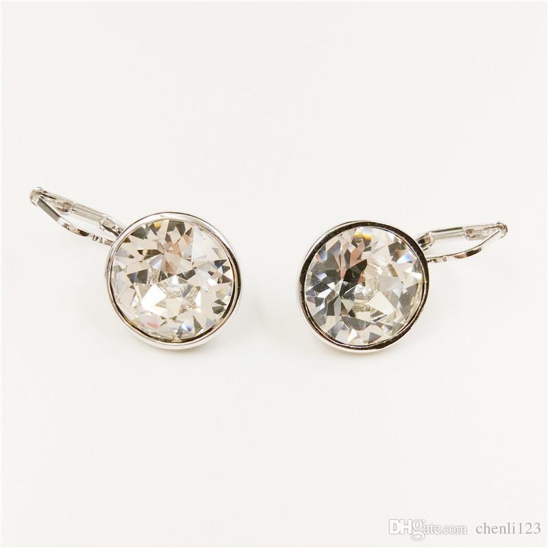 Cristallo dei monili orecchini di goccia di moda da Swarovski Elements 2017 Nuova ciondola gli orecchini in oro bianco placcato Bijouterie 22467