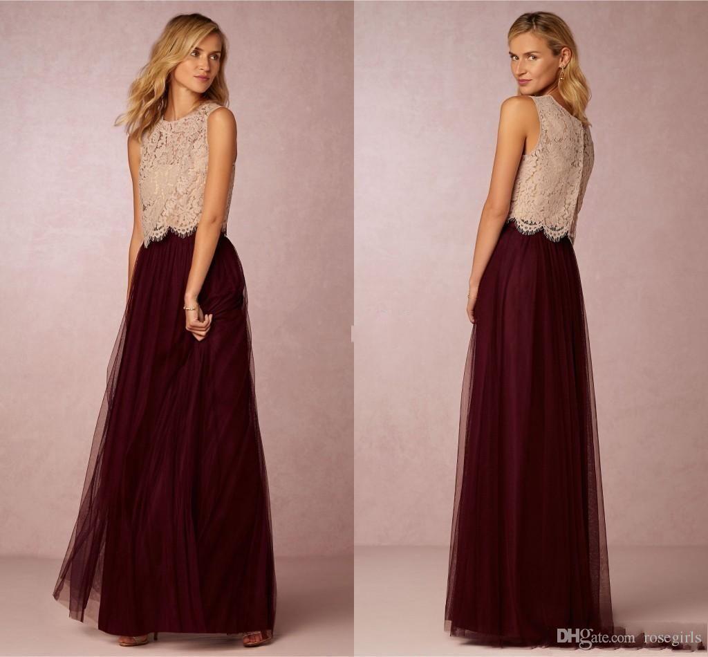 Compre Borgoña Tutu Falda Vestidos De Dama De Honor 2016 Top De ...
