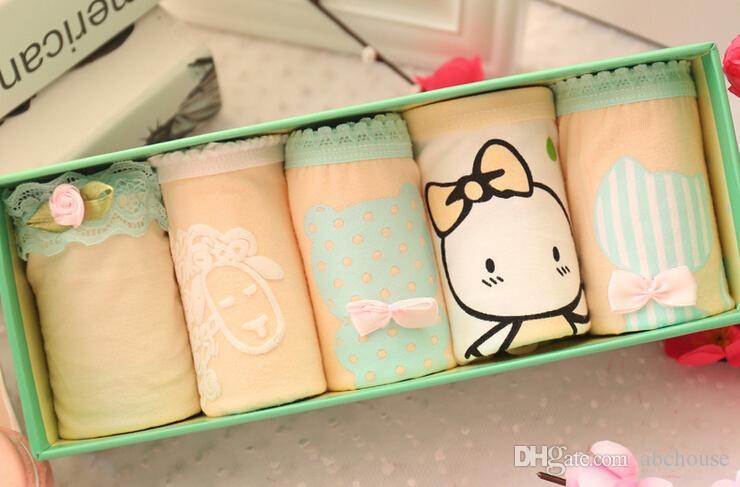Venda quente 5 pçs / caixa Linda moças cuecas Imprimir calcinha dos desenhos animados sexy roupa interior de algodão