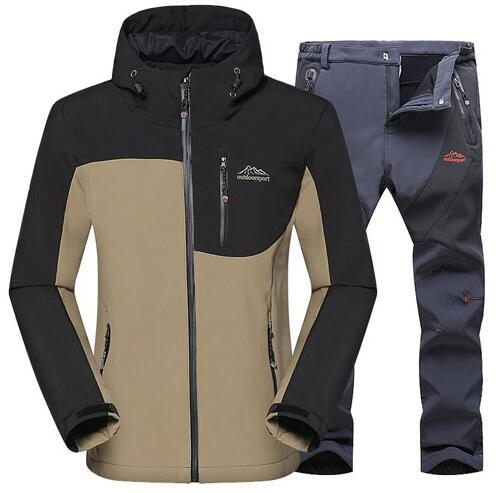 1507ffed8 Men Outdoor Jacket Hiking Camping Sports Waterproof Skiing Jackets +Pants  Suit Moutain Clothes WIindproof Clothing Set plus size 5XL